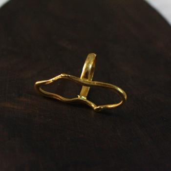 Gold plated irregular shaped ring