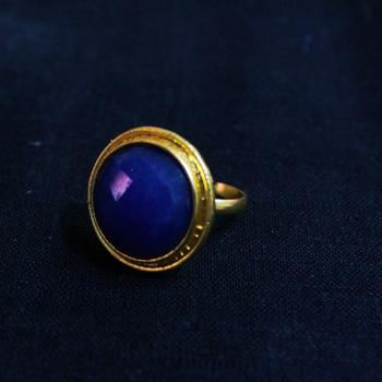 Gold Plated Blue Round Ring