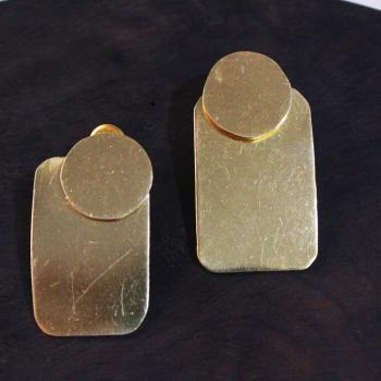 Gold plated rectangle earrings