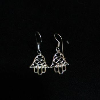 Silver plated Hamsa earrings