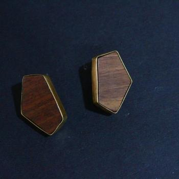 WOOD METAL EARRING